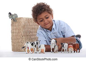 kicsi fiú, játék, noha, övé, apró állat