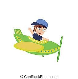 kicsi fiú, működtető, egy, repülőgép