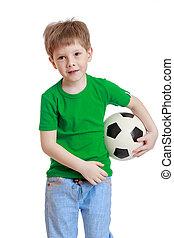 kicsi fiú, noha, egy, labdarúgás, alatt, övé, kéz, közelkép