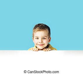 kicsi, fiú, portré, csinos