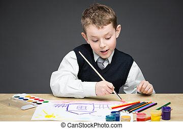 kicsi fiú, rajz, valami