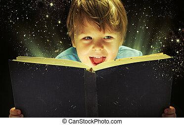 kicsi, fiú, szállítás, egy, varázslatos, könyv