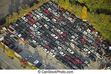 kicsi, junkyard, alatt, városi, terület