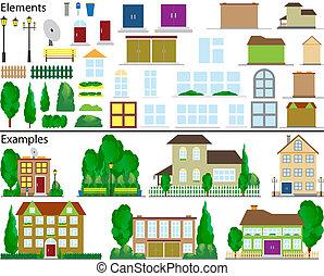 kicsi, külvárosi, houses.