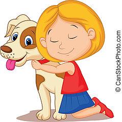 kicsi lány, ölelgetés, bájos, karikatúra