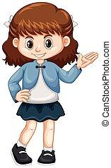 kicsi lány, alatt, blue zakó