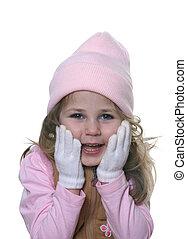 kicsi lány, alatt, kalap, és, pár kesztyű