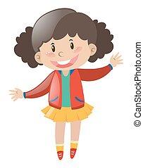kicsi lány, alatt, piros zakó