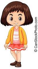 kicsi lány, alatt, sárga zakó