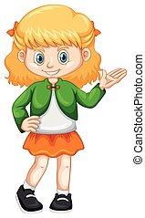 kicsi lány, alatt, zöld zakó