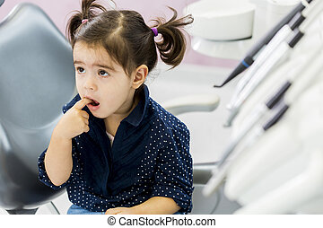 kicsi lány, -ban, a, fogász