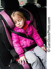 kicsi lány, egy kocsiban, ülés