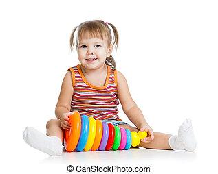 kicsi lány, kölyök, játék, noha, játékszer