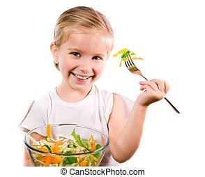 kicsi lány, noha, a, növényi