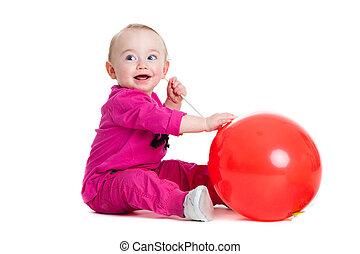 kicsi lány, noha, ball.