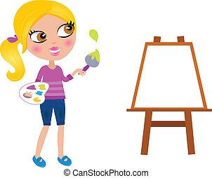 kicsi lány, szobafestő, ecset, boldog, festék, karikatúra