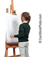 kicsi lány, van, festmény, képben látható, festőállvány