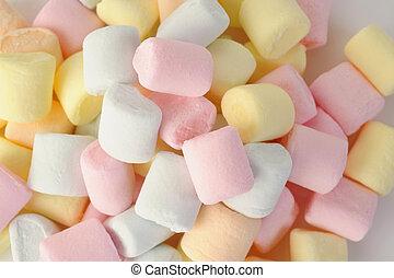 kicsi, marshmallows, kifulladt, színezett