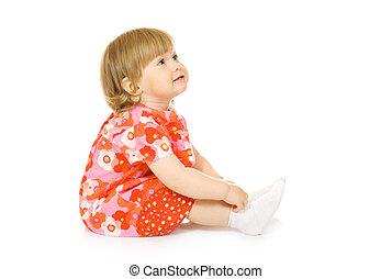 kicsi, mosolyog csecsemő, alatt, piros ruha, elszigetelt