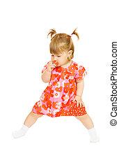 kicsi, mosolyog csecsemő, alatt, piros ruha, noha, játékszer, csésze, elszigetelt