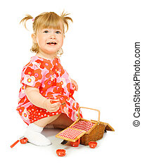 kicsi, mosolyog csecsemő, alatt, piros ruha, noha, játékszer, kosár, elszigetelt
