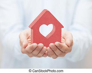 kicsi, piros, épület, noha, szív, alatt, kézbesít