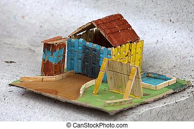 kicsi, színes, épület