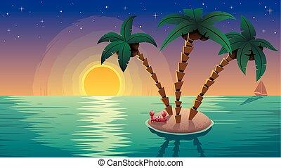 kicsi sziget, subset, táj
