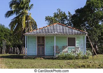 kicsi, tartózkodási, otthon, képben látható, kuba