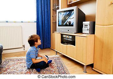 kicsi, televízió, gyerekek, őrzés