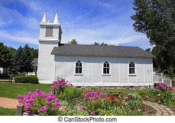 kicsi, templom, és, virág kert