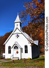 kicsi, templom, alatt, nyugat virginia