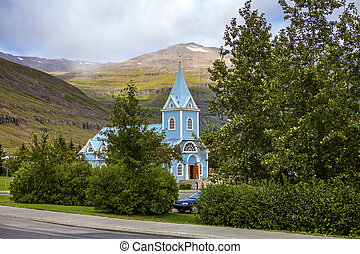 kicsi, templom, alatt, seydisfjordur, izland