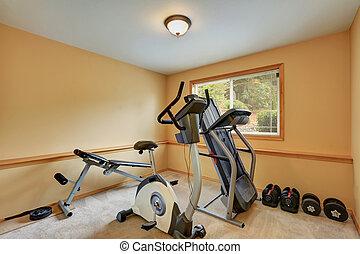 kicsi, tornaterem, szoba, noha, gyakorlás, equipments.
