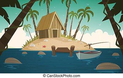 kicsi, tropical sziget