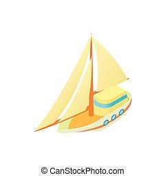 kicsi, vitorlás hajó, ikon, mód, karikatúra
