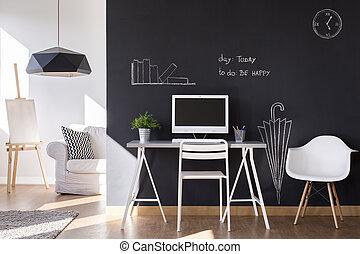 kicsi, workspace, noha, tábla, fal, otthon