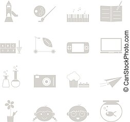 Kid activities icons set on white background