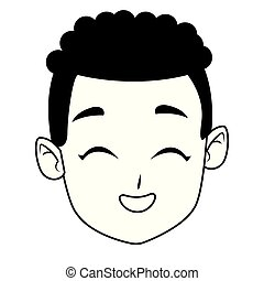 Kid afro boy face smiling cartoon in black and white