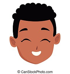 Kid afro boy face smiling cartoon