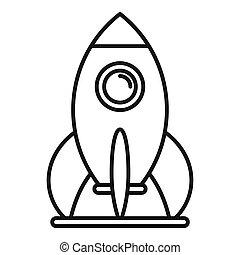 Kid amusement rocket icon, outline style
