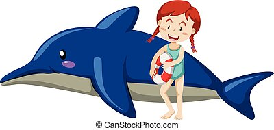 Kid and inflatable dolphin on white background