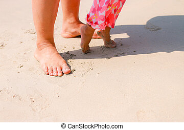 Kid and mom on the beach