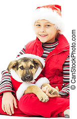 kid and puppy in Christmas clothes on a white background isolate