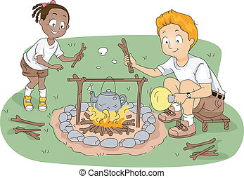 Kid and Teacher Boiling Water - Illustration of a Student...