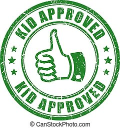 Kid approved green round stamp