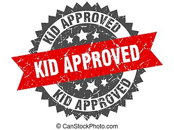 kid approved stamp. grunge round sign with ribbon