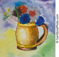 Kid aquarelle drawing of a colorful bouquet - Kids aquarelle...