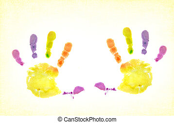 Kid Art - Bright and colorful handprint on textured...