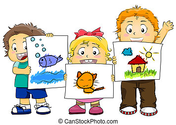 Kid Artworks - Illustration Featuring Kids Displaying their...